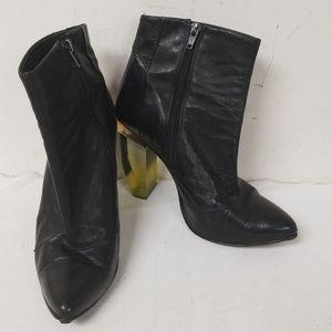 Miista Black Leather Amaya Heeled Boots Size 40